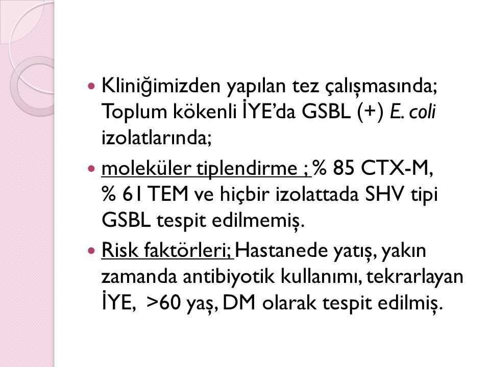 Kliniğimizden yapılan tez çalışmasında; Toplum kökenli İYE'da GSBL (+) E. coli izolatlarında;