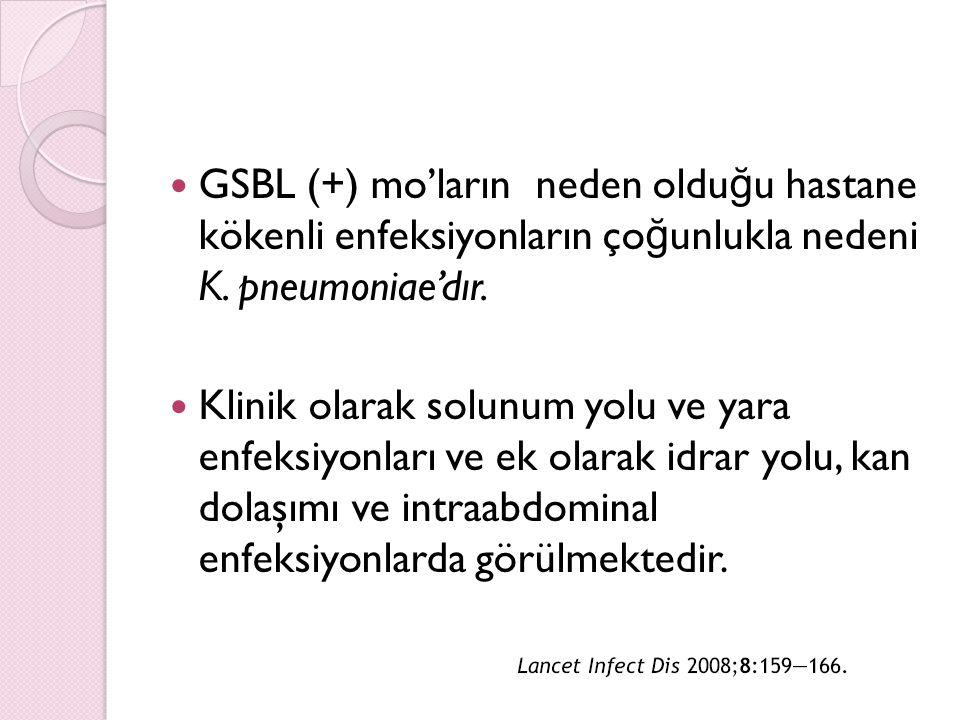 GSBL (+) mo'ların neden olduğu hastane kökenli enfeksiyonların çoğunlukla nedeni K. pneumoniae'dır.