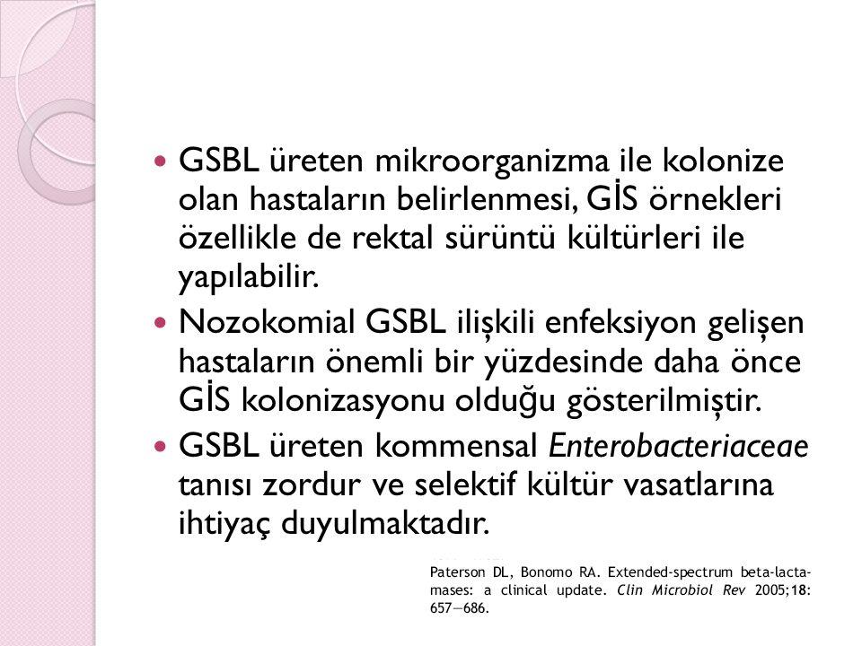 GSBL üreten mikroorganizma ile kolonize olan hastaların belirlenmesi, GİS örnekleri özellikle de rektal sürüntü kültürleri ile yapılabilir.
