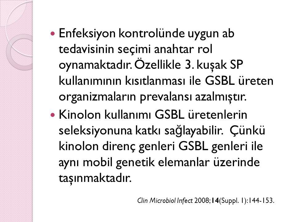 Enfeksiyon kontrolünde uygun ab tedavisinin seçimi anahtar rol oynamaktadır. Özellikle 3. kuşak SP kullanımının kısıtlanması ile GSBL üreten organizmaların prevalansı azalmıştır.