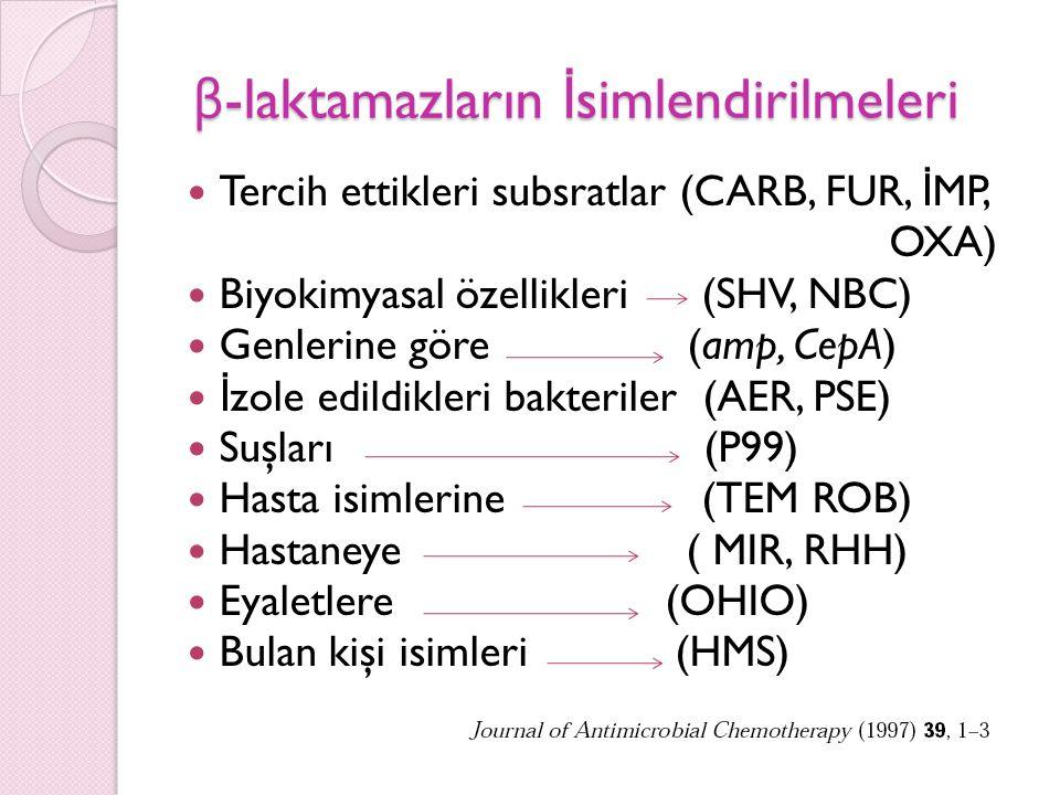 β-laktamazların İsimlendirilmeleri