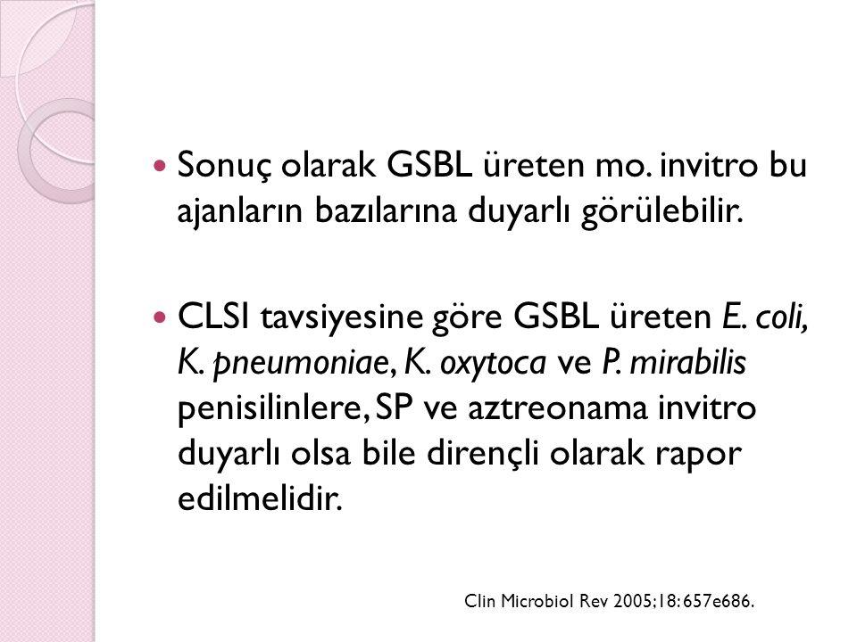 Sonuç olarak GSBL üreten mo