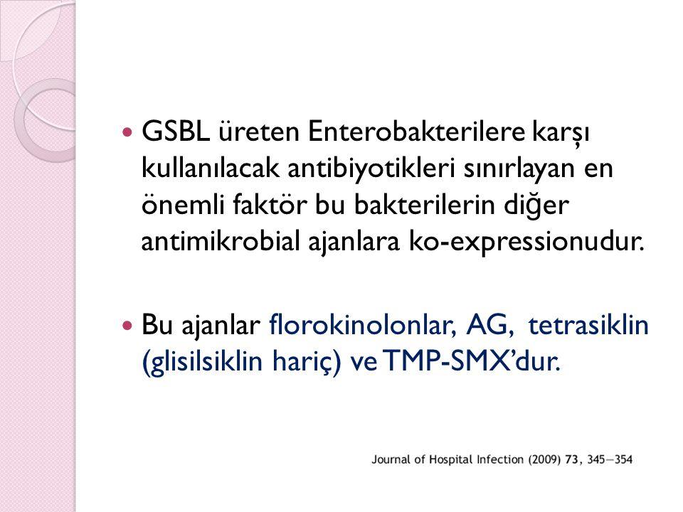 GSBL üreten Enterobakterilere karşı kullanılacak antibiyotikleri sınırlayan en önemli faktör bu bakterilerin diğer antimikrobial ajanlara ko-expressionudur.