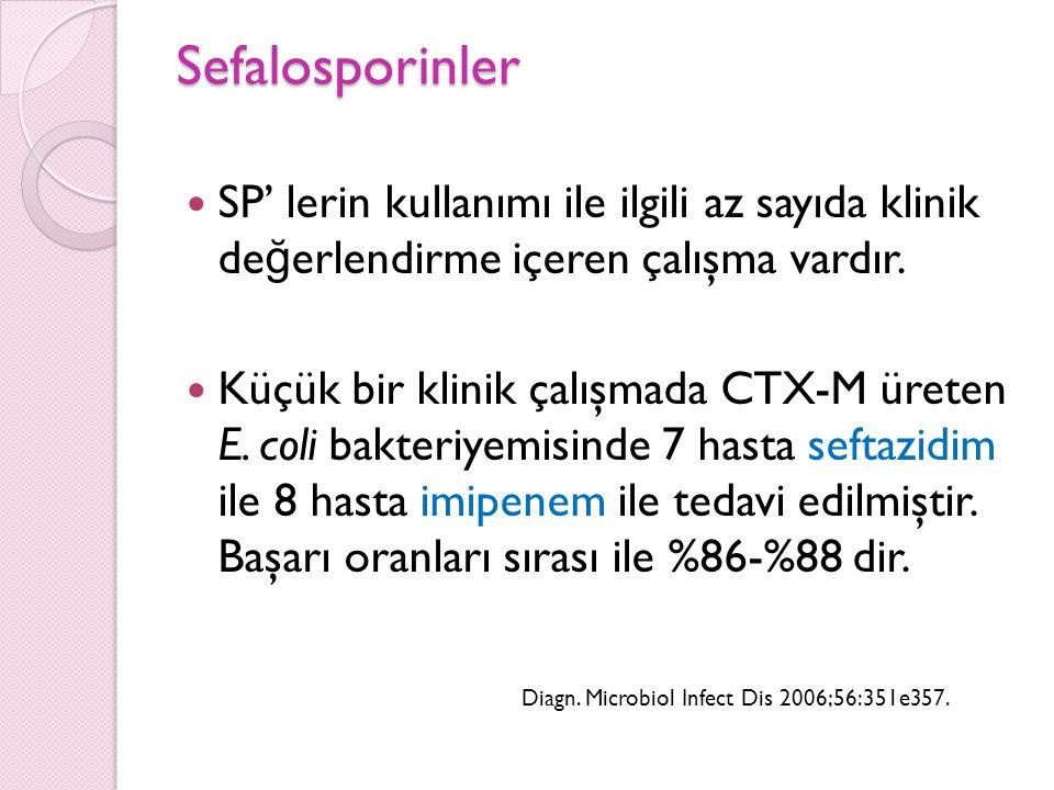 Sefalosporinler SP' lerin kullanımı ile ilgili az sayıda klinik değerlendirme içeren çalışma vardır.