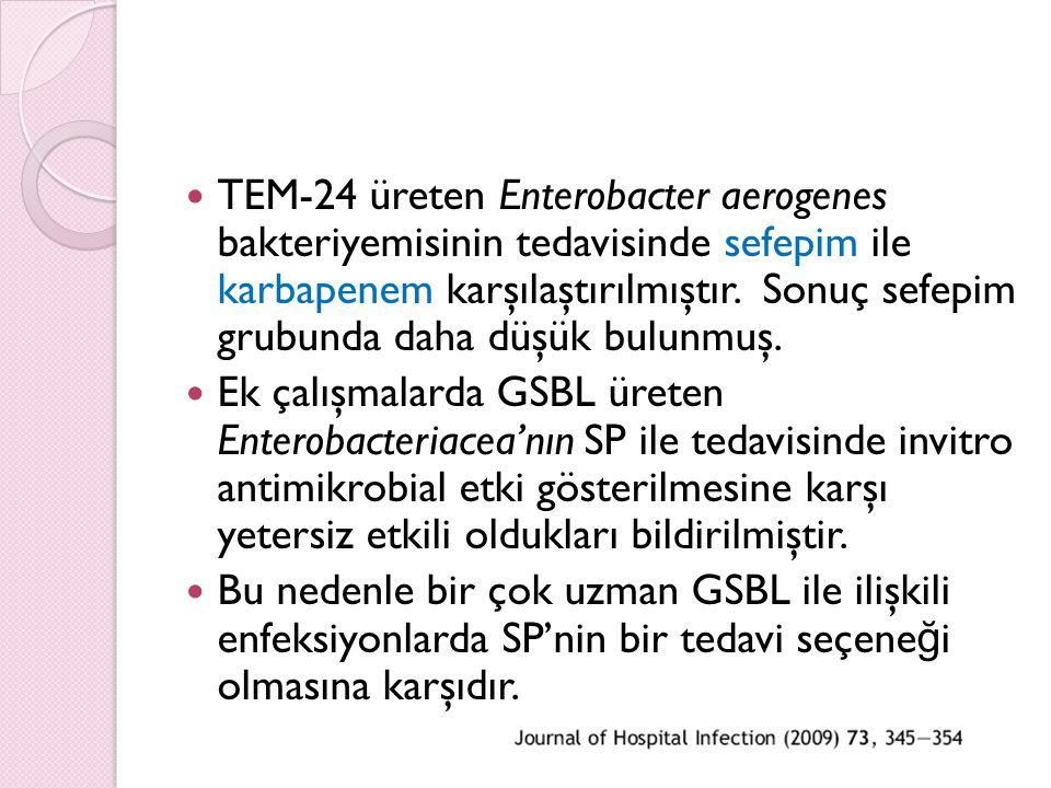 TEM-24 üreten Enterobacter aerogenes bakteriyemisinin tedavisinde sefepim ile karbapenem karşılaştırılmıştır. Sonuç sefepim grubunda daha düşük bulunmuş.
