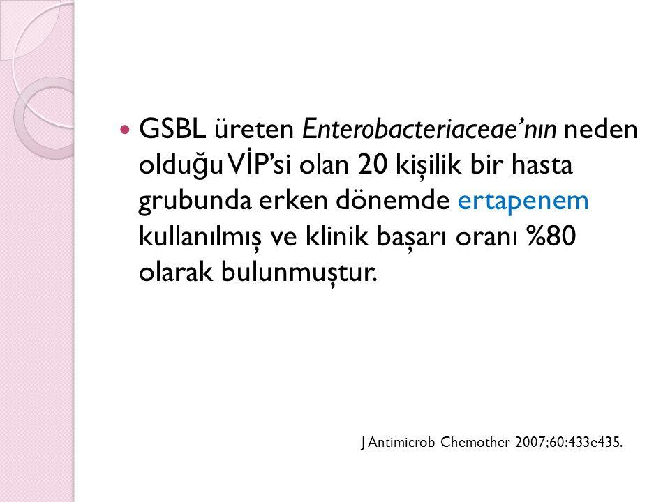GSBL üreten Enterobacteriaceae'nın neden olduğu VİP'si olan 20 kişilik bir hasta grubunda erken dönemde ertapenem kullanılmış ve klinik başarı oranı %80 olarak bulunmuştur.