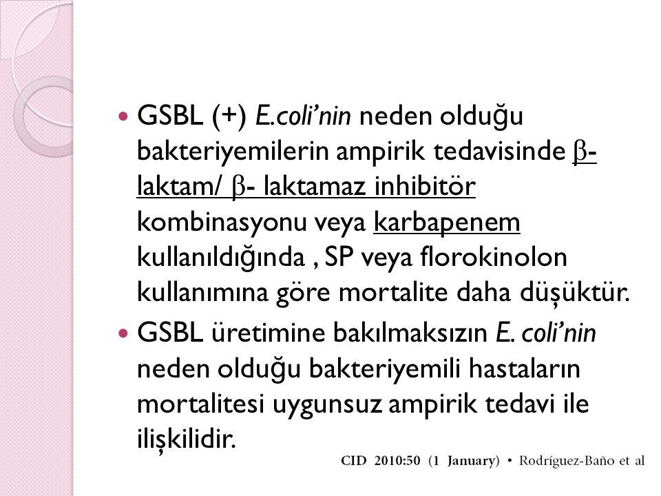GSBL (+) E.coli'nin neden olduğu bakteriyemilerin ampirik tedavisinde β- laktam/ β- laktamaz inhibitör kombinasyonu veya karbapenem kullanıldığında , SP veya florokinolon kullanımına göre mortalite daha düşüktür.