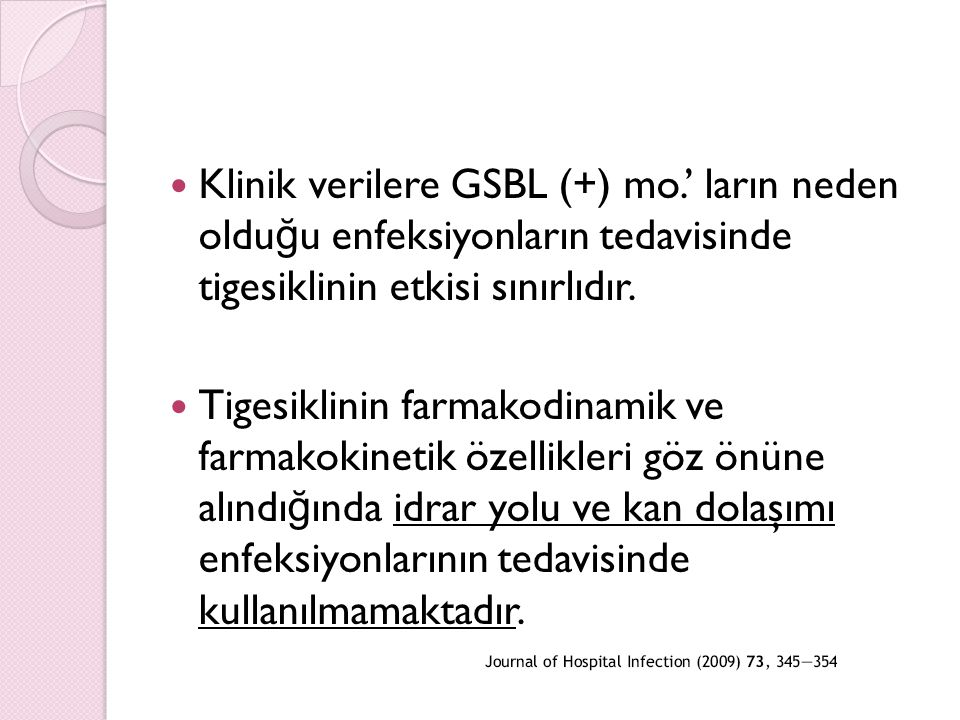 Klinik verilere GSBL (+) mo