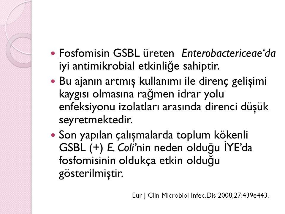 Fosfomisin GSBL üreten Enterobactericeae'da iyi antimikrobial etkinliğe sahiptir.