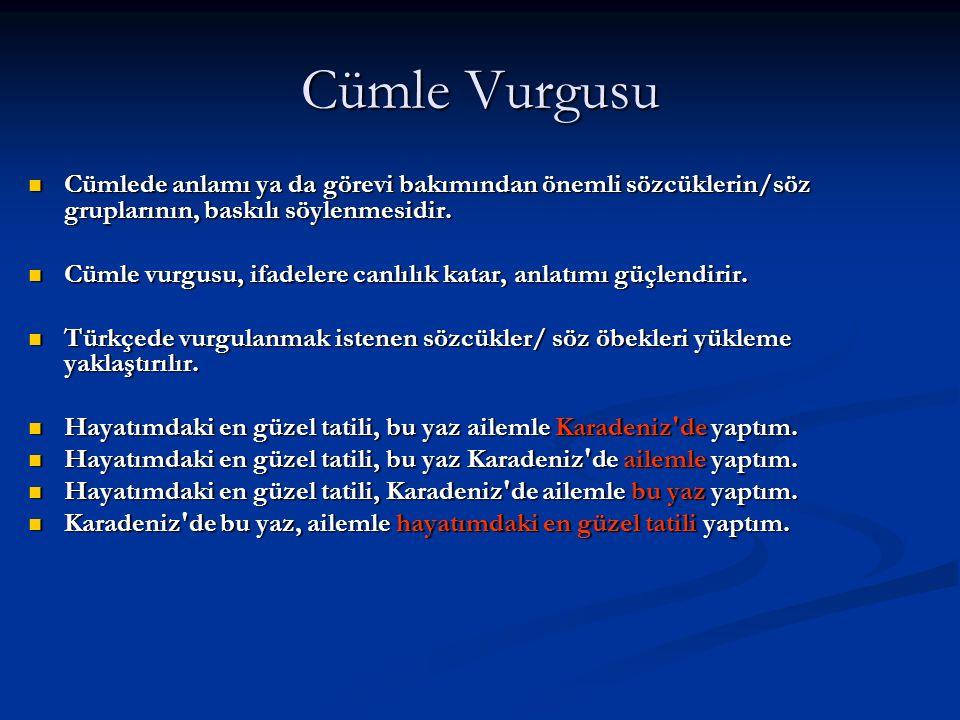 Cümle Vurgusu Cümlede anlamı ya da görevi bakımından önemli sözcüklerin/söz gruplarının, baskılı söylenmesidir.
