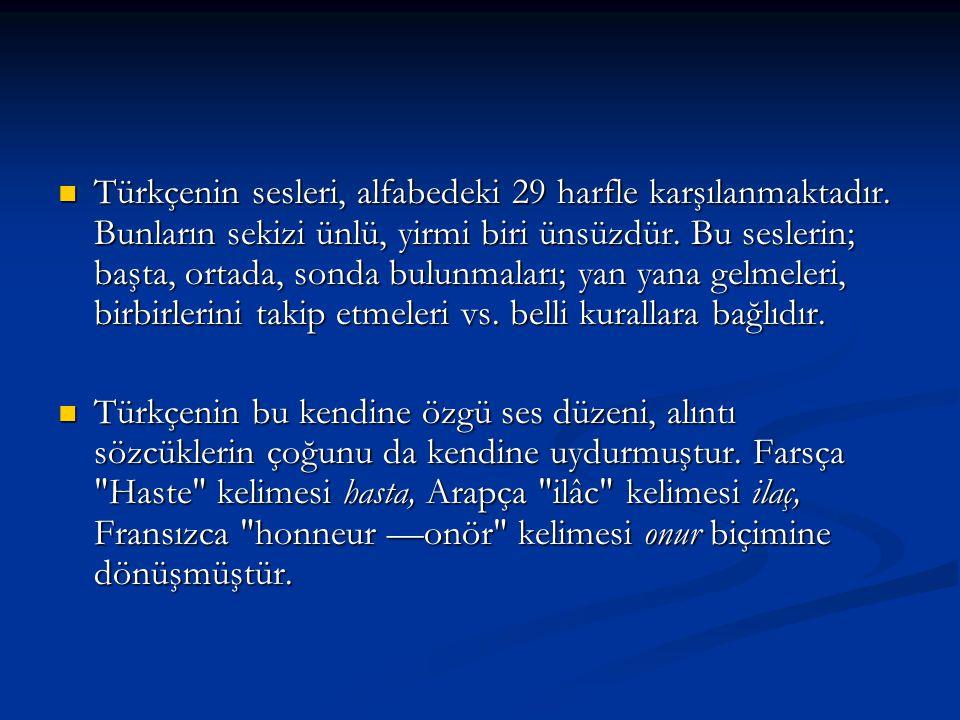 Türkçenin sesleri, alfabedeki 29 harfle karşılanmaktadır