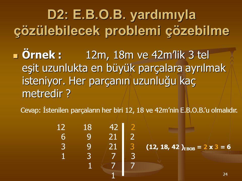 D2: E.B.O.B. yardımıyla çözülebilecek problemi çözebilme
