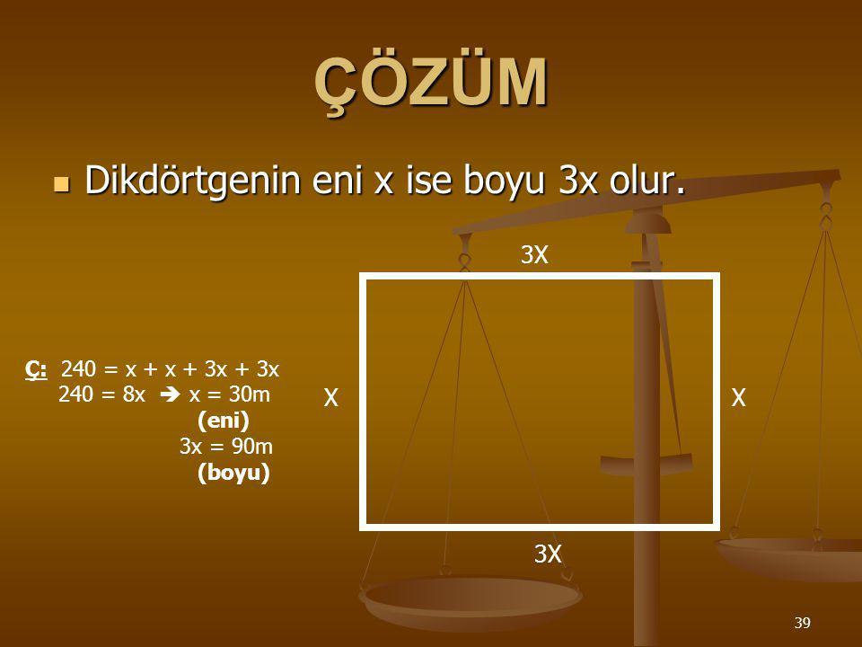 ÇÖZÜM Dikdörtgenin eni x ise boyu 3x olur. 3X X X 3X