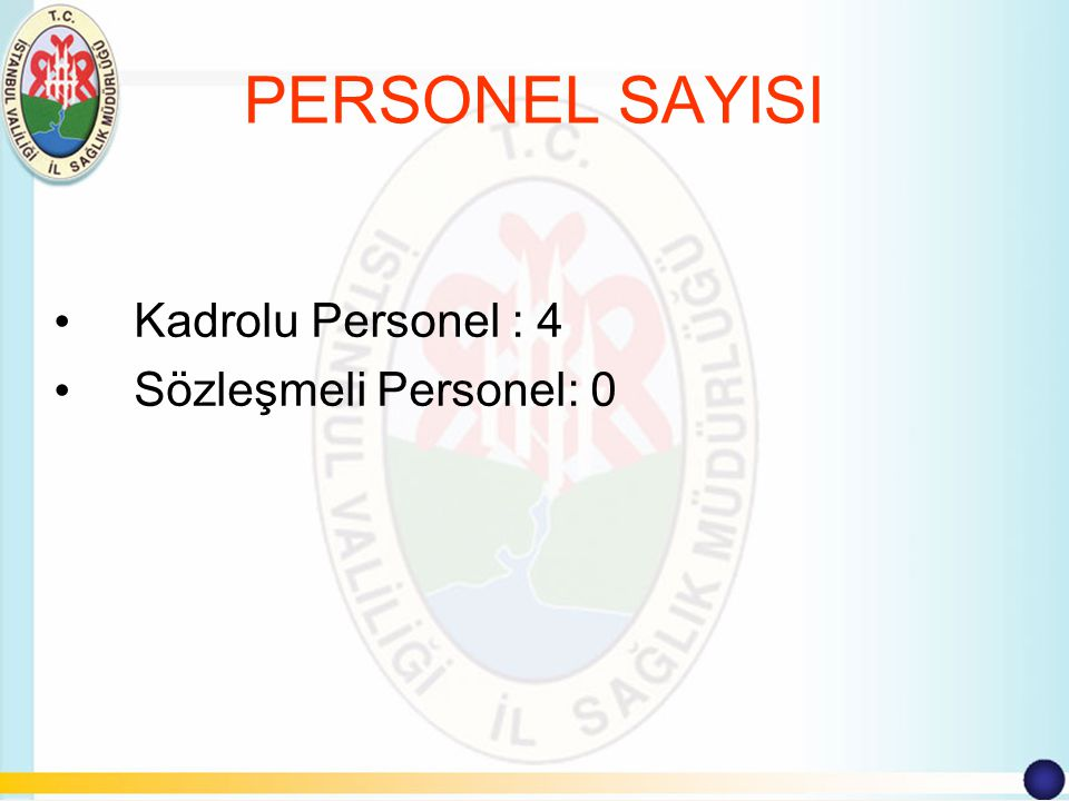 PERSONEL SAYISI Kadrolu Personel : 4 Sözleşmeli Personel: 0