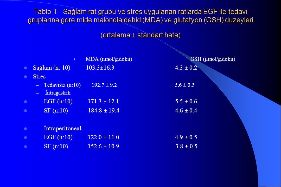 Tablo 1. Sağlam rat grubu ve stres uygulanan ratlarda EGF ile tedavi gruplarına göre mide malondialdehid (MDA) ve glutatyon (GSH) düzeyleri (ortalama  standart hata)