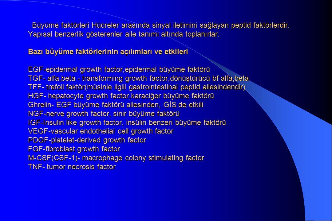 VEGF- vasküler epidermal büyüme faktörü Büyüme faktörleri Hücreler arasında sinyal iletimini sağlayan peptid faktörlerdir.