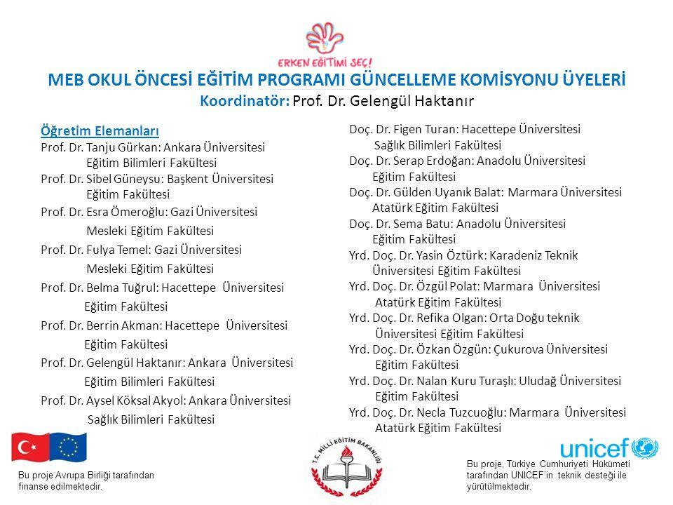 MEB OKUL ÖNCESİ EĞİTİM PROGRAMI GÜNCELLEME KOMİSYONU ÜYELERİ Koordinatör: Prof. Dr. Gelengül Haktanır