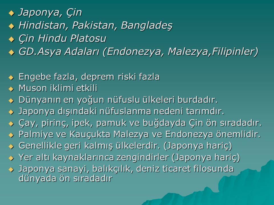 Hindistan, Pakistan, Bangladeş Çin Hindu Platosu