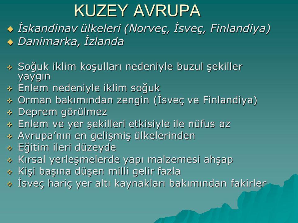 KUZEY AVRUPA İskandinav ülkeleri (Norveç, İsveç, Finlandiya)