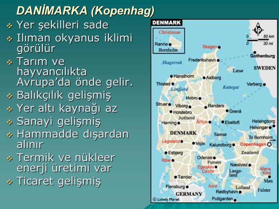 DANİMARKA (Kopenhag) Yer şekilleri sade Ilıman okyanus iklimi görülür