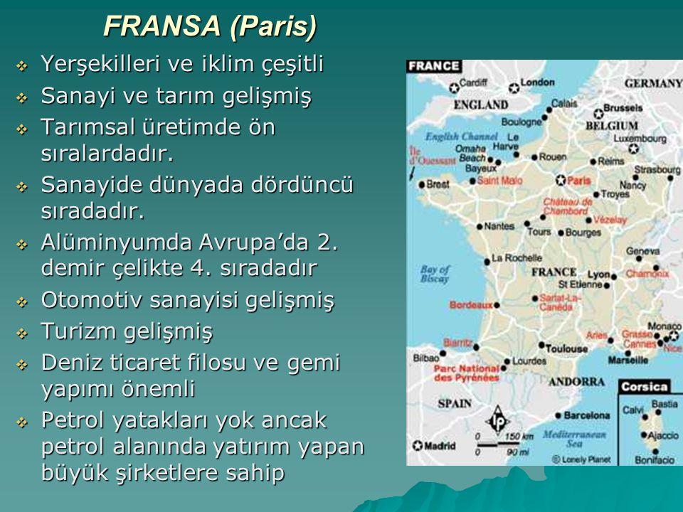 FRANSA (Paris) Yerşekilleri ve iklim çeşitli Sanayi ve tarım gelişmiş