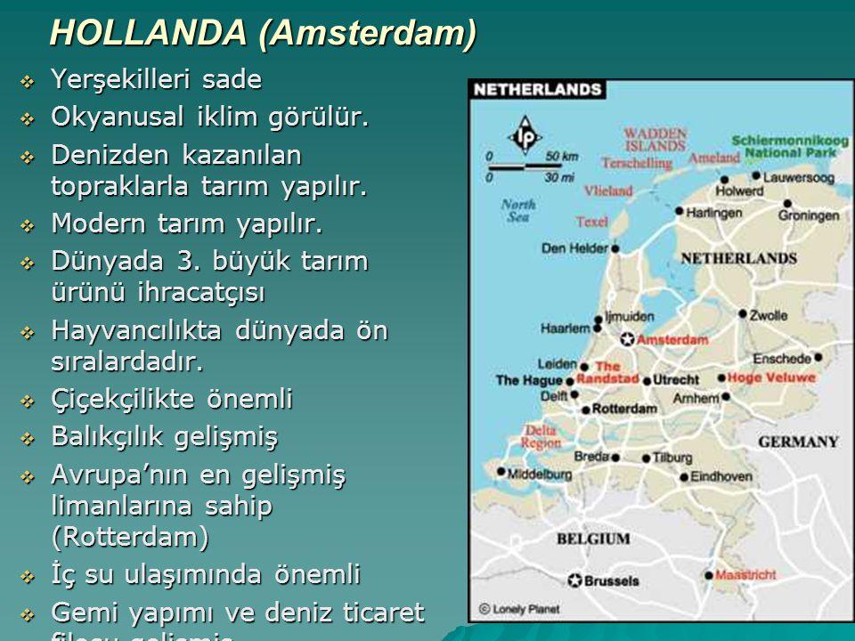 HOLLANDA (Amsterdam) Yerşekilleri sade Okyanusal iklim görülür.