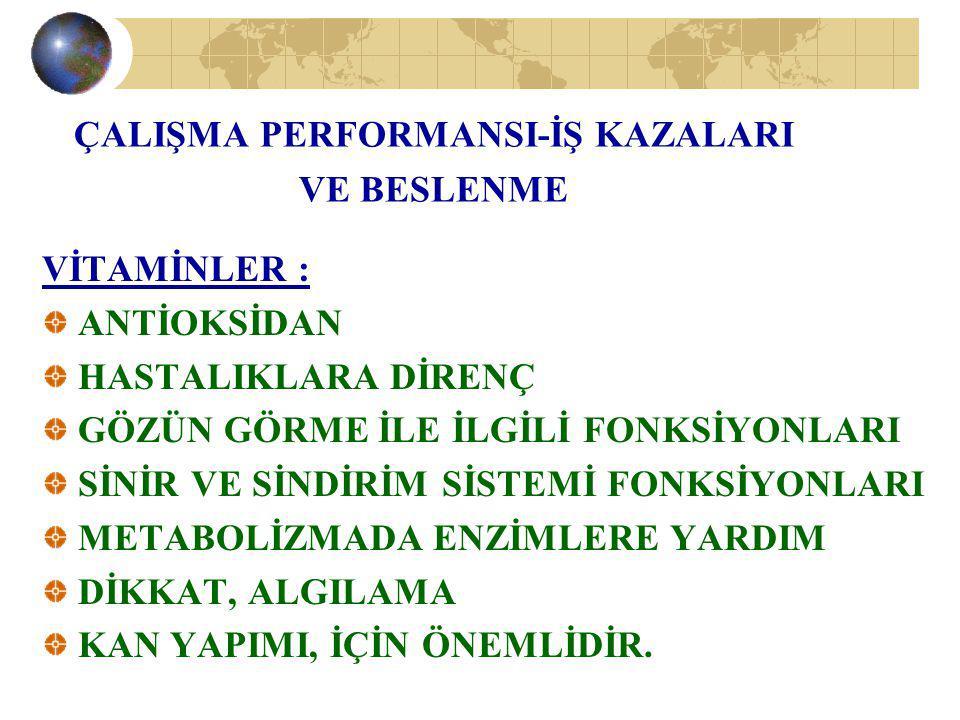 ÇALIŞMA PERFORMANSI-İŞ KAZALARI VE BESLENME