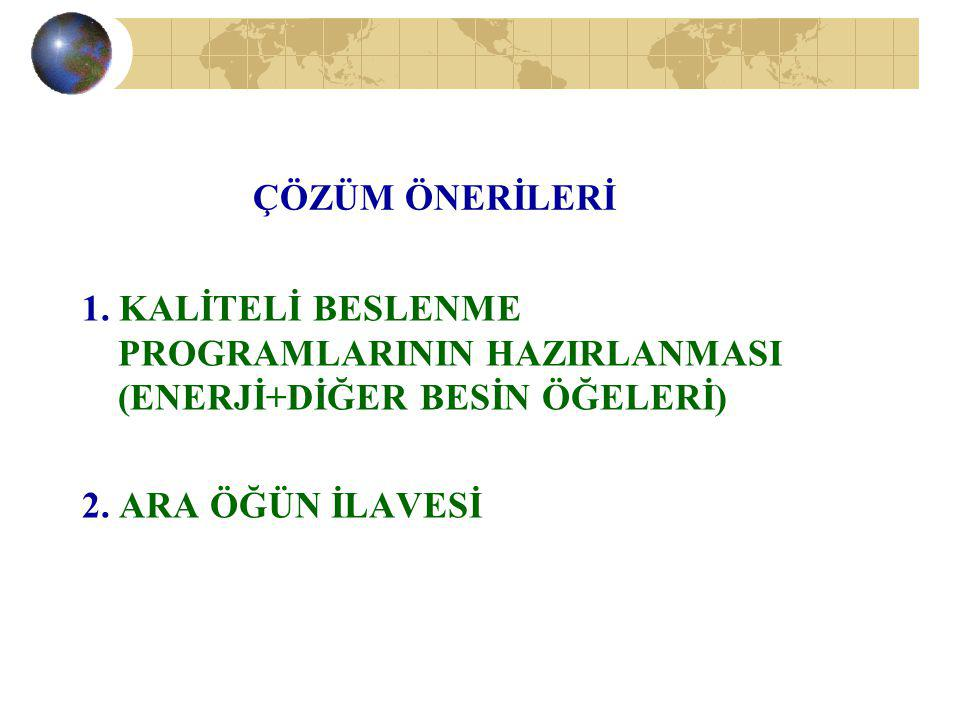 ÇÖZÜM ÖNERİLERİ 1. KALİTELİ BESLENME PROGRAMLARININ HAZIRLANMASI (ENERJİ+DİĞER BESİN ÖĞELERİ) 2.