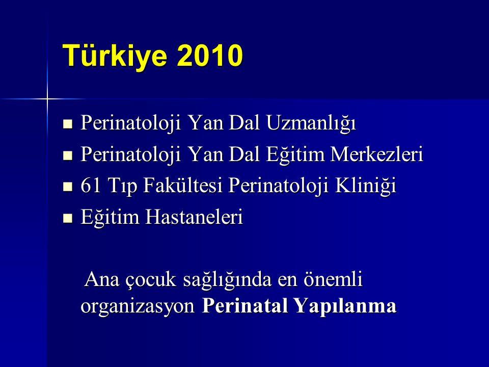 Türkiye 2010 Perinatoloji Yan Dal Uzmanlığı