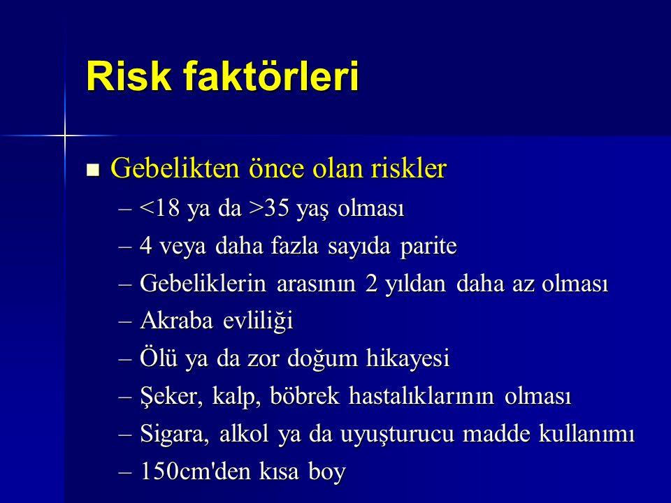 Risk faktörleri Gebelikten önce olan riskler