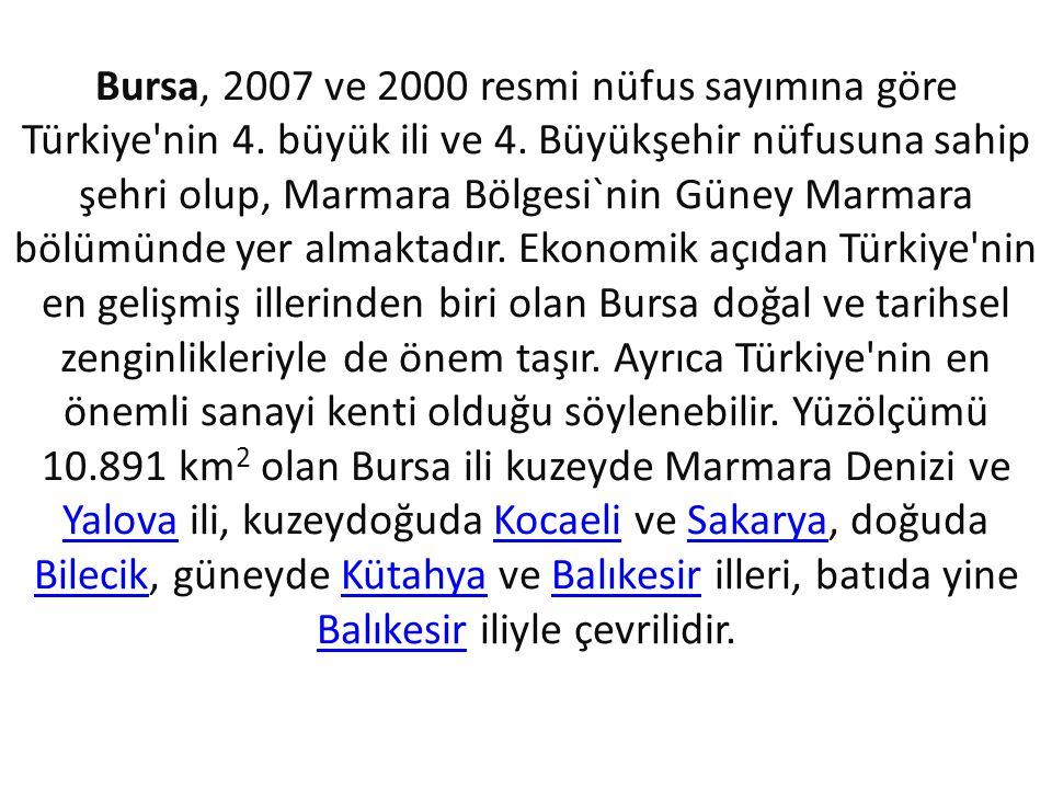 Bursa, 2007 ve 2000 resmi nüfus sayımına göre Türkiye nin 4
