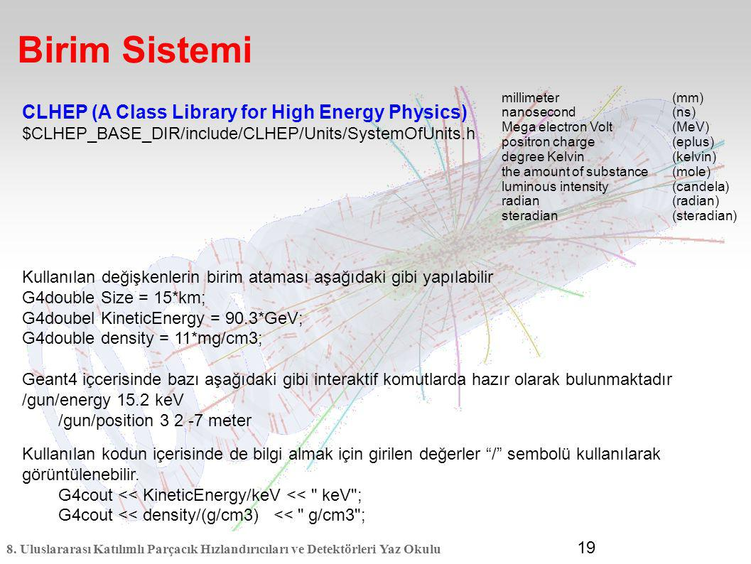 Birim Sistemi CLHEP (A Class Library for High Energy Physics)