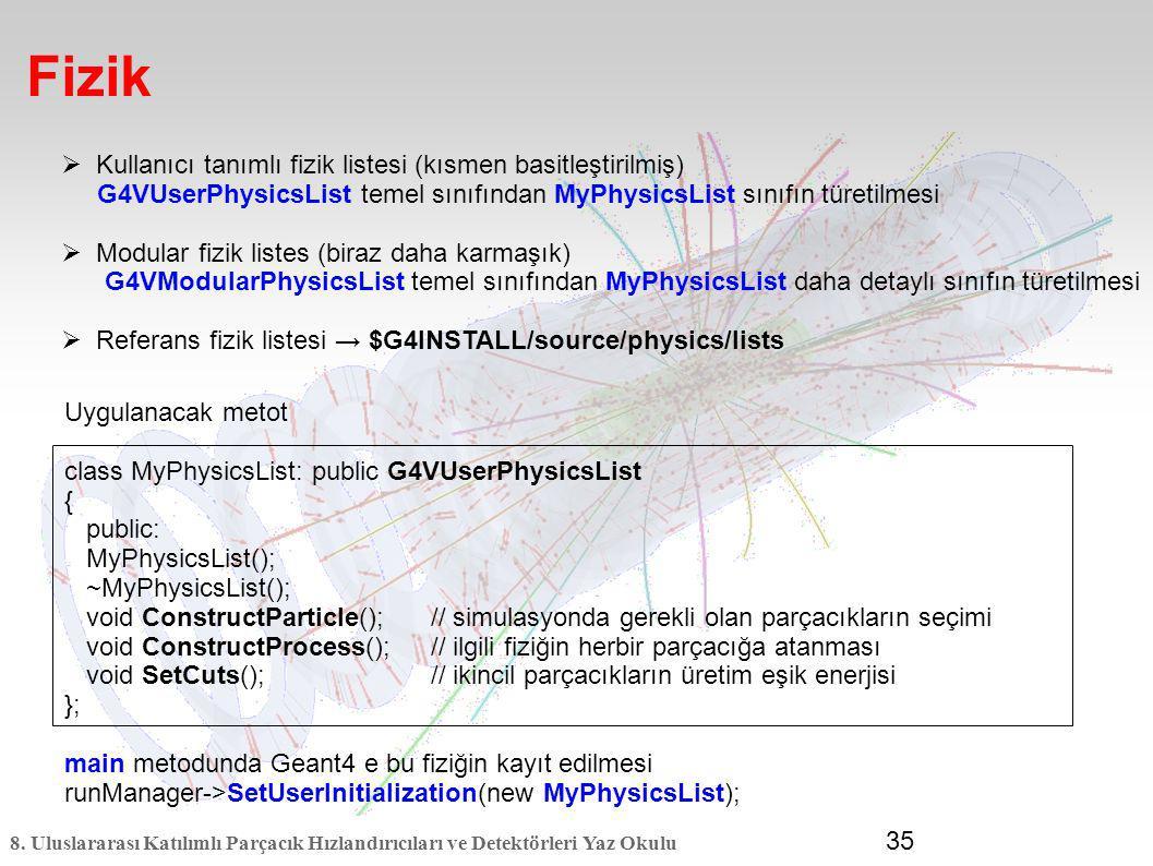 Fizik Kullanıcı tanımlı fizik listesi (kısmen basitleştirilmiş)