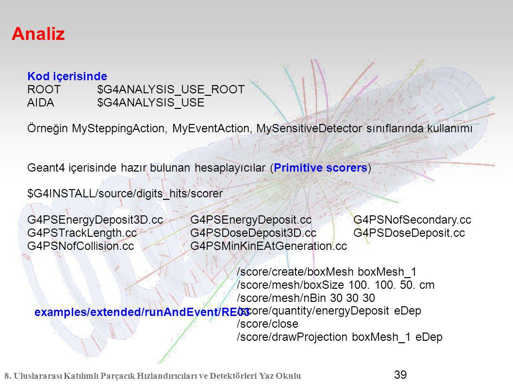 Analiz Kod içerisinde ROOT $G4ANALYSIS_USE_ROOT AIDA $G4ANALYSIS_USE