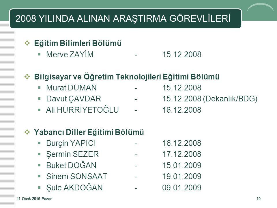2008 YILINDA ALINAN ARAŞTIRMA GÖREVLİLERİ