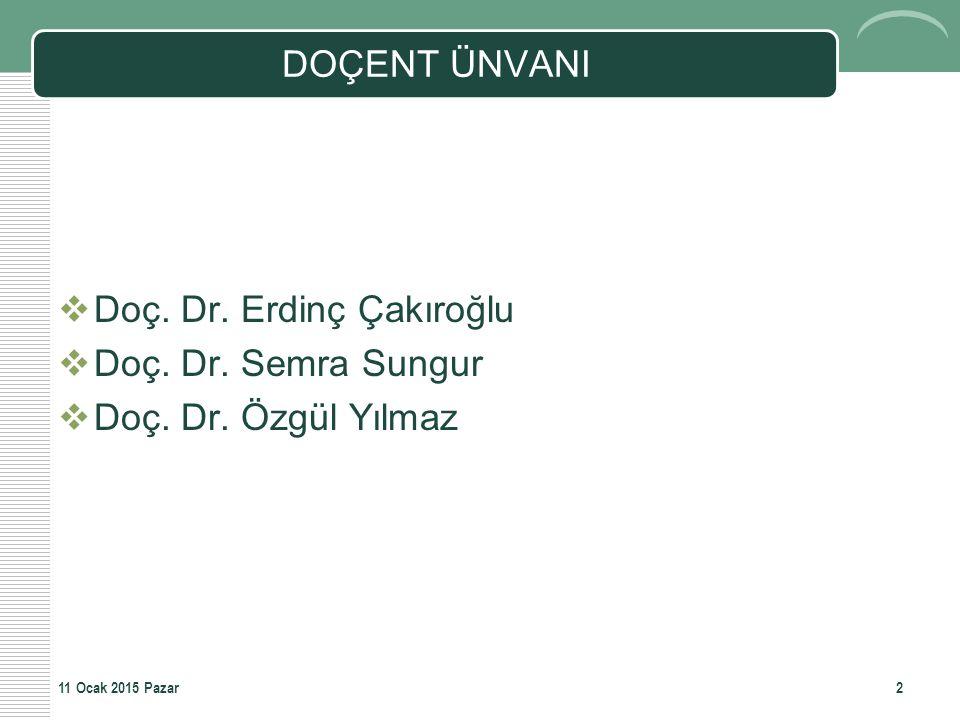 Doç. Dr. Erdinç Çakıroğlu Doç. Dr. Semra Sungur Doç. Dr. Özgül Yılmaz