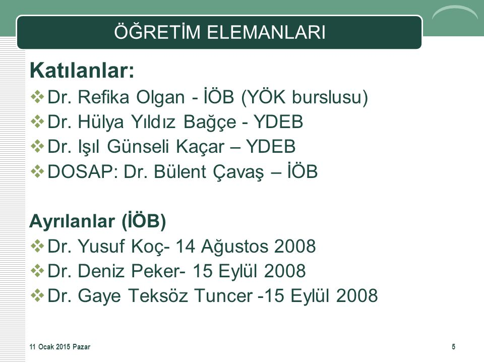 Katılanlar: ÖĞRETİM ELEMANLARI Dr. Refika Olgan - İÖB (YÖK burslusu)