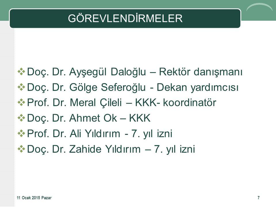 Doç. Dr. Ayşegül Daloğlu – Rektör danışmanı