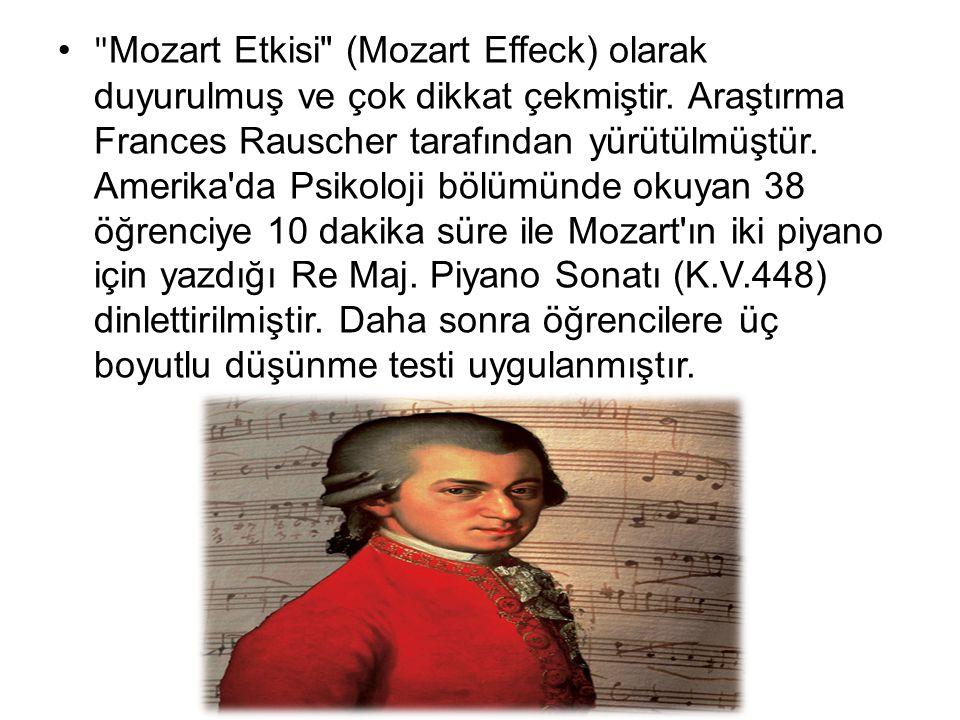 Mozart Etkisi (Mozart Effeck) olarak duyurulmuş ve çok dikkat çekmiştir.