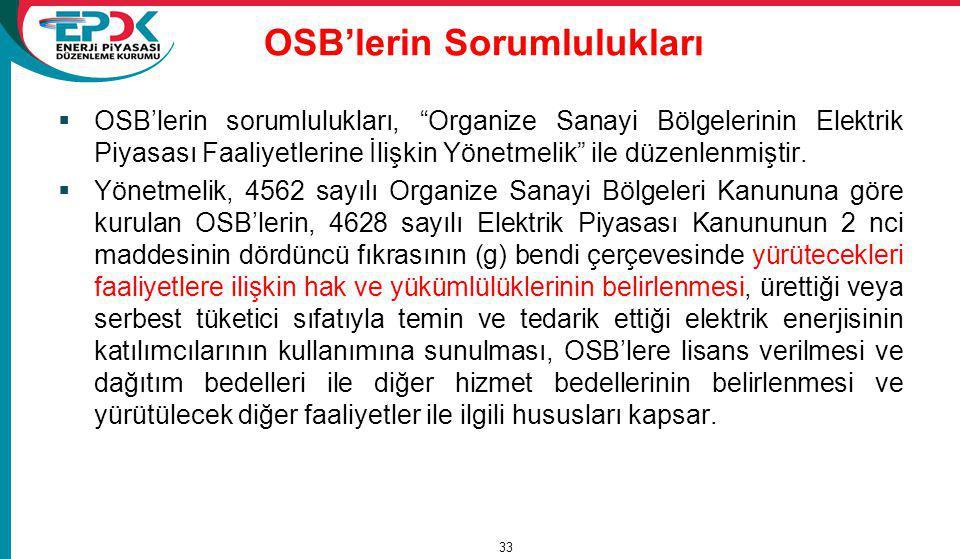 OSB'lerin Sorumlulukları