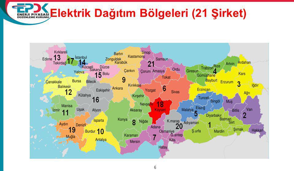 Elektrik Dağıtım Bölgeleri (21 Şirket)