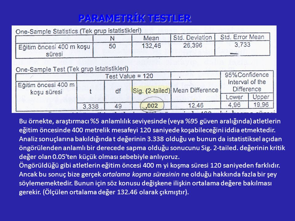 PARAMETRİK TESTLER