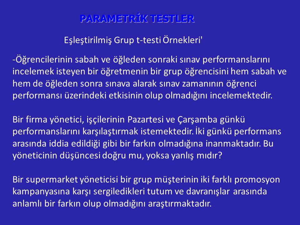 Eşleştirilmiş Grup t-testi Örnekleri