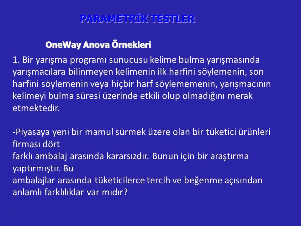 PARAMETRİK TESTLER OneWay Anova Örnekleri.