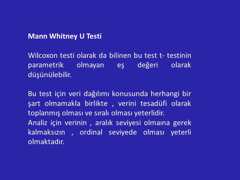 Mann Whitney U Testi Wilcoxon testi olarak da bilinen bu test t- testinin parametrik olmayan eş değeri olarak düşünülebilir.