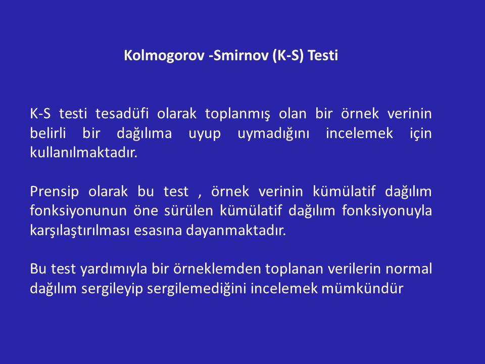 Kolmogorov -Smirnov (K-S) Testi