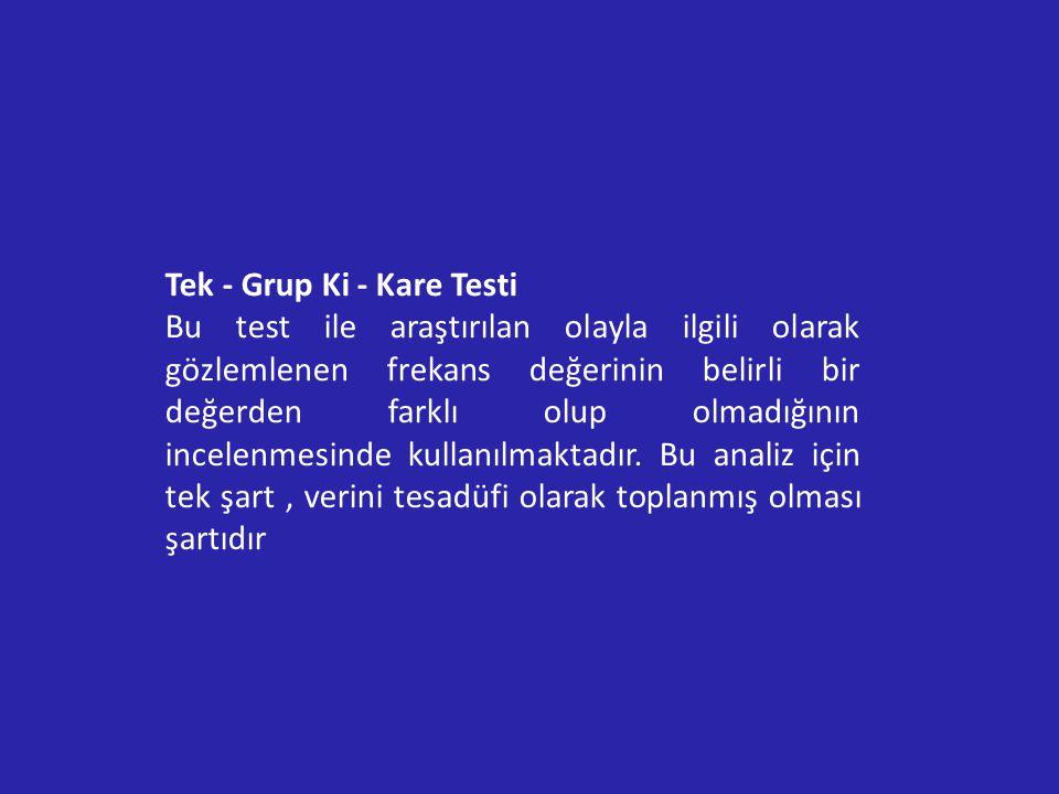 Tek - Grup Ki - Kare Testi