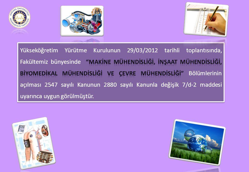 Yükseköğretim Yürütme Kurulunun 29/03/2012 tarihli toplantısında, Fakültemiz bünyesinde Makİne Mühendİslİğİ, İnşaat Mühendİslİğİ, Bİyomedİkal Mühendİslİğİ ve Çevre Mühendİslİğİ Bölümlerinin açılması 2547 sayılı Kanunun 2880 sayılı Kanunla değişik 7/d-2 maddesi uyarınca uygun görülmüştür.
