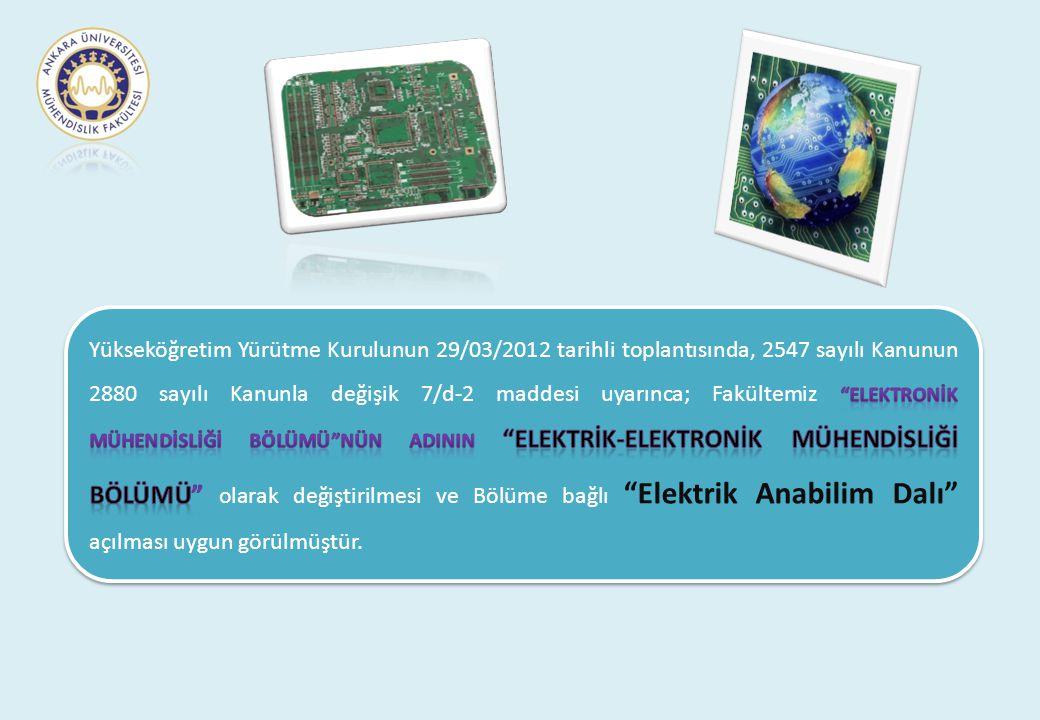 Yükseköğretim Yürütme Kurulunun 29/03/2012 tarihli toplantısında, 2547 sayılı Kanunun 2880 sayılı Kanunla değişik 7/d-2 maddesi uyarınca; Fakültemiz Elektronİk Mühendİslİğİ Bölümü nün adInIN Elektrİk-Elektronİk Mühendİslİğİ Bölümü olarak değiştirilmesi ve Bölüme bağlı Elektrik Anabilim Dalı açılması uygun görülmüştür.