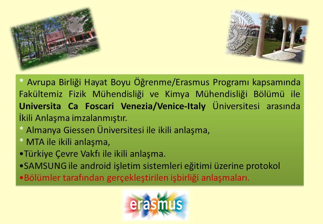 * Avrupa Birliği Hayat Boyu Öğrenme/Erasmus Programı kapsamında Fakültemiz Fizik Mühendisliği ve Kimya Mühendisliği Bölümü ile Universita Ca Foscari Venezia/Venice-Italy Üniversitesi arasında İkili Anlaşma imzalanmıştır.